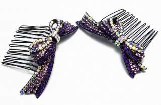 2PC RIBBON BOW AUSTRIAN RHINESTONE CRYSTAL HAIR COMBS COMB BARRETTE