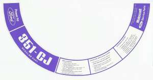 Ford 1972 351 C.I.D. CJ Regular Fuel Air Cleaner Decal