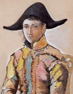 PAINTING SIGNED PICASSO, HARLEQUIN FIGURE,CLOWN COA