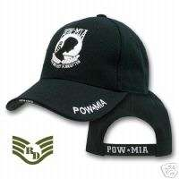 BLACK POW MIA PRISONERS OF WAR HAT HATS CAP CAPS