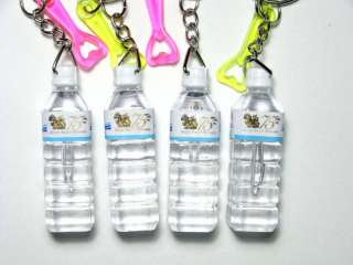Lot of 4 Keychains Charms Plastic Mini Water Bottles