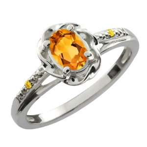41 Ct Oval Yellow Citrine Canary Diamond 14K White Gold Ring Jewelry
