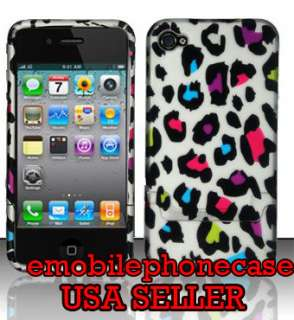 Cute Leopard Snap On Rubberized Hard Case Cover Apple iPhone 4 / 4GS
