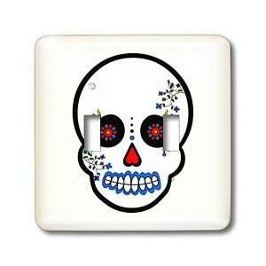 Muertos Sugar Skull White   Light Switch Covers   double toggle switch