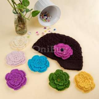 Handmade Baby Girl Crochet Knit Beanie Hat Cap+6 Flower [SKU 12