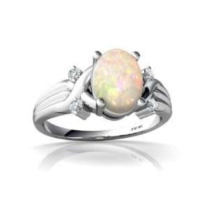 14K White Gold Oval Genuine Opal Ring Size 8 Jewelry