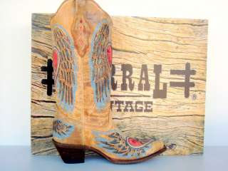 Corral Womans Tan Angel Wing Heart Inlay Cowgirl Boots