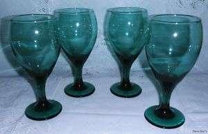 Vintage Forrest Green Gold Trim Wine Glasses Set of 4