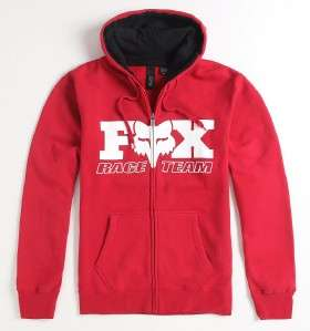 Fox Racing Dee Retro Race Team Mens Red Zip Hoodie Fleece Sweatshirt
