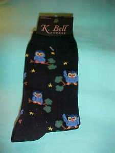 OWL OWLS on branches on ladies black K. Bell socks NEW