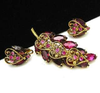 Purple Crystal Rhinestone Heart Pin Brooch Earrings Set