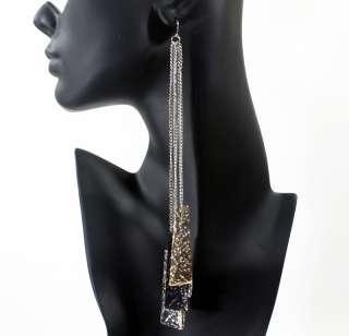 Long Silver Tone Dangle Chandelier Fashion Earrings #5353