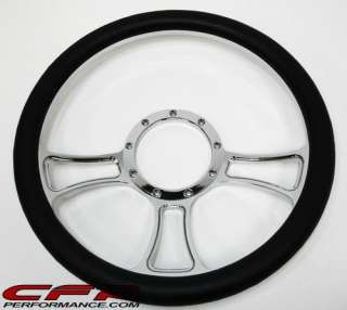 ALUMINUM BILLET STEERING WHEEL CHROME LEATHER 5516