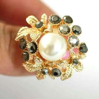 r6090 Flower Pearl Bead Gold plate Diamante CZ Adjustable Ring Fashion