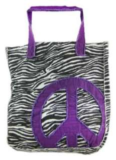 Distressed Zebra Print Purple Peace Sign Tote Bag: Clothing