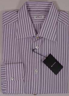 KITON DRESS SHIRT $765 PURPLE/WHITE STRIPED KITON HANDMADE SHIRT 17.5