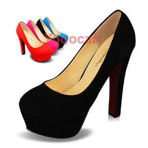 New Classic Faux Suede Womens Shoes Platforms New Chunky High Heels