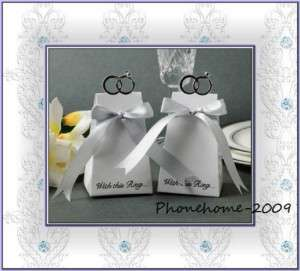 100PCS White With Ring& Ribbon Wedding Favor Boxes WB16