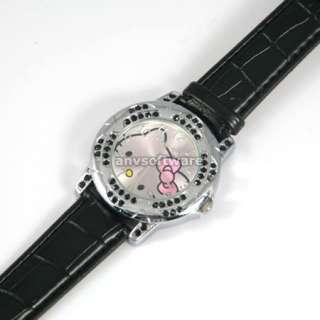 New Black Fashion crystal lady quartz flower style HelloKitty Girls