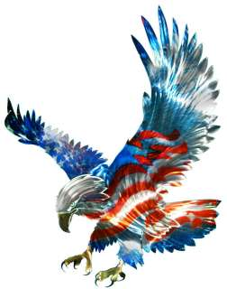 AMERICAN FLAG & BALD EAGLE METAL WALL ART Patriotic Decor Decorations
