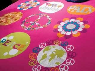 Girls Peace Sign Fuchsia Comforter Sheets Bedding Set Twin 7p