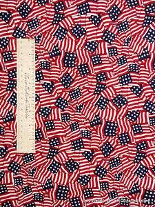 Red White Blue Flag   Americana Patriotic Fabric Cotton YARD