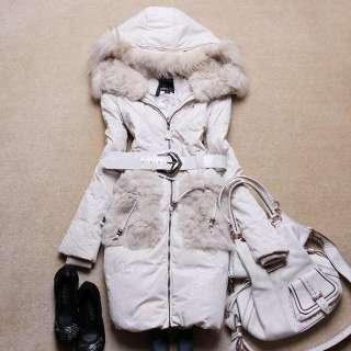 Lady Real Rex Rabbit Fur Long White Duck Down Coat Jacket L