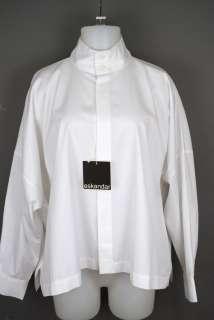 NWT Eskandar White Cotton High Neck Shirt Mid size 1