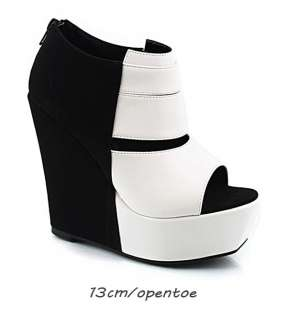 New Womens Black & White Wedge Booties Boots US 5 6 7 8