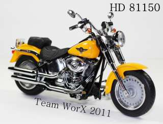 Davidson Fat Boy Diecast Motorcycle 112 Chrome Yellow 81150
