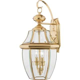 Quoizel Newbury Outdoor Wall Fixture Polished Brass 2 Lights