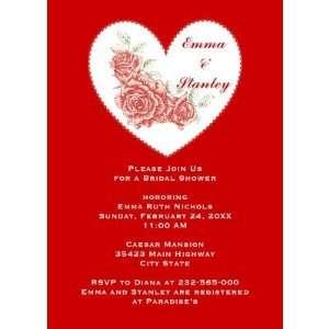 Vintage red roses heart Valentine s Day wedding Custom Invites (10