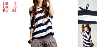 Off Shoulder Dark Blue White Striped Shirt XS for Lady
