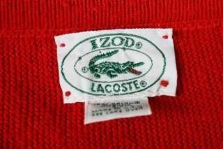 60s Mod Indie Izod Lacoste Red V Neck Orlon Sweater L USA