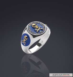 MASONIC VIRTUS BLUE LODGE SILVER RING 24K GOLD PLATED