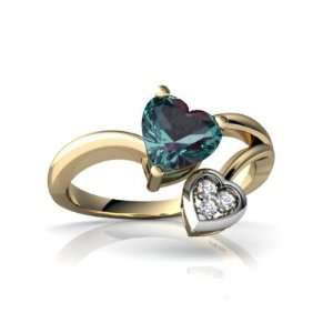 14K Yellow Gold Heart Created Alexandrite Ring Size 4 Jewelry