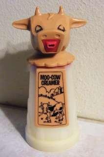 Vtg Plastic MOO COW CREAMER Cow Head WHIRLEY Pat Pend