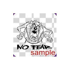 CARTOONS NO FEAR TAZ 10 WHITE VINYL DECAL STICKER