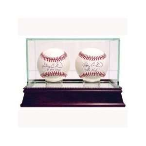 Double Baseball Display Case With Cherry Wood Base