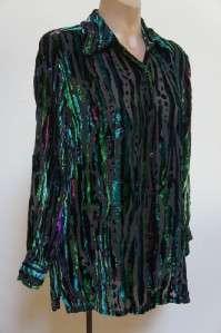 BOB MACKIE Wearable Art Gorgeous Burnout Top Sz S / M