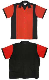 Slick Red/Black Retro shirt Button front Wash & Wear Retrobowler
