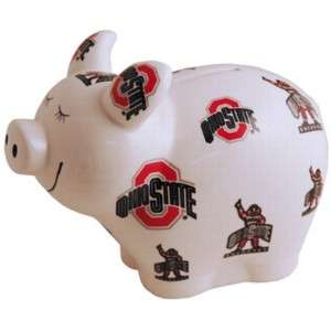 OSU Ohio State Buckeyes Ceramic Piggy Coin Change Bank