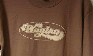 Waylon Jennings w/flying W on Back Brown T Shirt Small