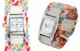 Fashion Lady Girls Candy Braided Rope Wrap Wrist Watch