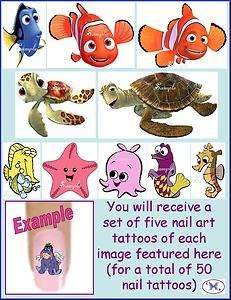 Toe Nail Art Tattoo Decals   FINDING NEMO Disney Squirt Dory Bubbles