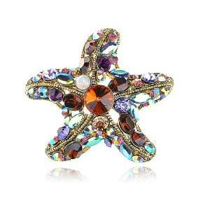 Rhinestone Gold Tone Ocean Sea Starfish Star Shape Pin Brooch Jewelry