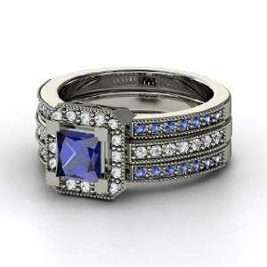 Va Voom Ring, Princess Sapphire Palladium Ring with Diamond & Sapphire