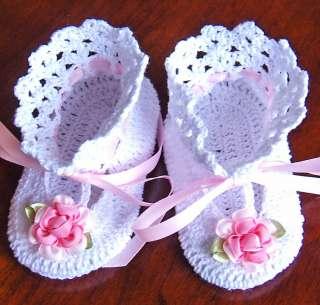 Rosette Baby Booties Christening Reborn Doll Crocheted