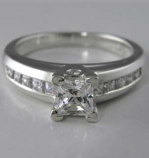 PRINCESS CUT ENGAGEMENT RING W/CHANNEL SET ACCENTS SOLID GOLD