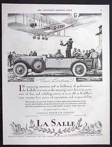 LA SALLE Motor Car magazine Ad Bi plane Airliner Airplane w710